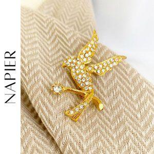 NAPIER Gold Tone & Rhinestone Bird Pin, NEW!